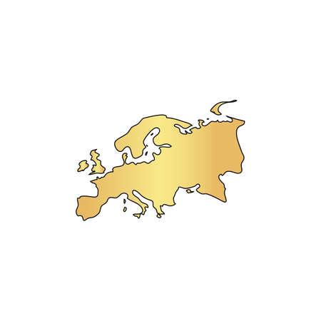 kazakhstan: Eurasia Gold vector icon with black contour line. Flat computer symbol Illustration