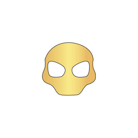 invader: Alien Head Gold vector icon with black contour line. Flat computer symbol Illustration
