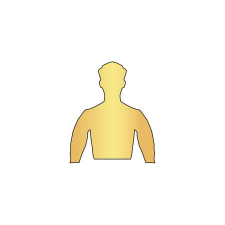 Unknown male Gold vector icon with black contour line. Flat computer symbol Illustration