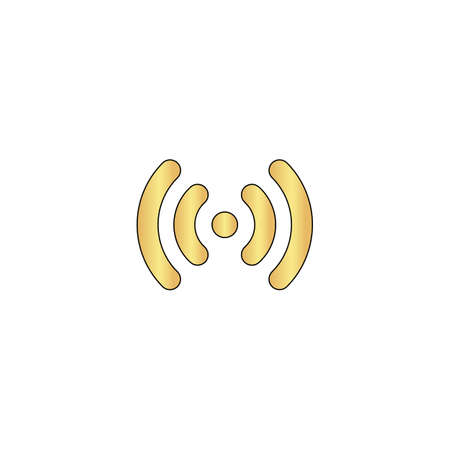 Wi-Fi Gold vector icon with black contour line. Flat computer symbol