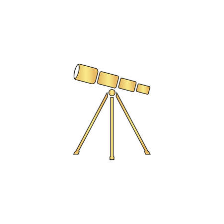 Telescope Gold vector icon with black contour line. Flat computer symbol