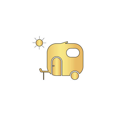 jeep: trailer Gold vector icon with black contour line. Flat computer symbol