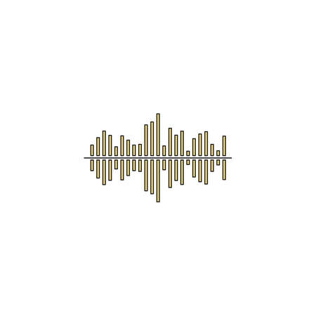soundwave Gold vector icon with black contour line. Flat computer symbol