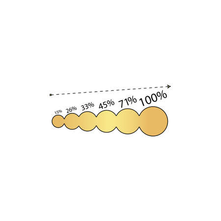 growing graph Gold vector icon with black contour line. Flat computer symbol
