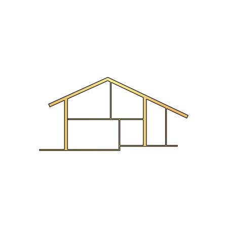 tenancy: cottage Gold vector icon with black contour line. Flat computer symbol