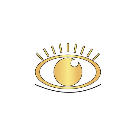 Eye Gold vector icon with black contour line. Flat computer symbol