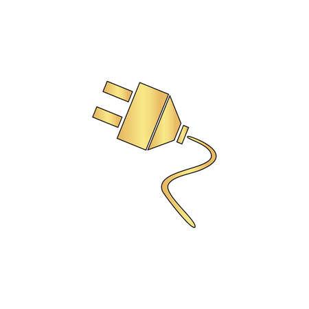 cable telefono: enchufes del vector del icono del oro con la línea de contorno negro. símbolo de plano de la computadora