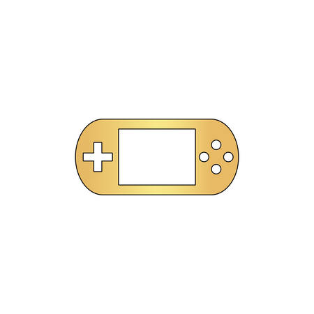 Game gadget Gold vector icon with black contour line. Flat computer symbol Illustration