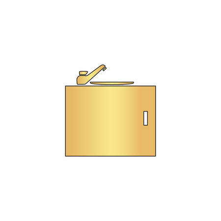 washstand: sink Gold vector icon with black contour line. Flat computer symbol