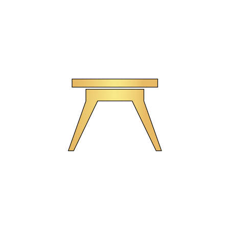 soiree: Camping table Gold vector icon with black contour line. Flat computer symbol