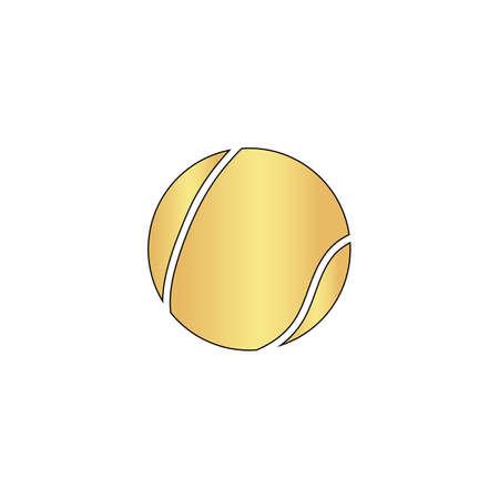 Złota piłka tenisowa ikon wektorowych z czarną linią konturu. Komputer z płaskim symbolem