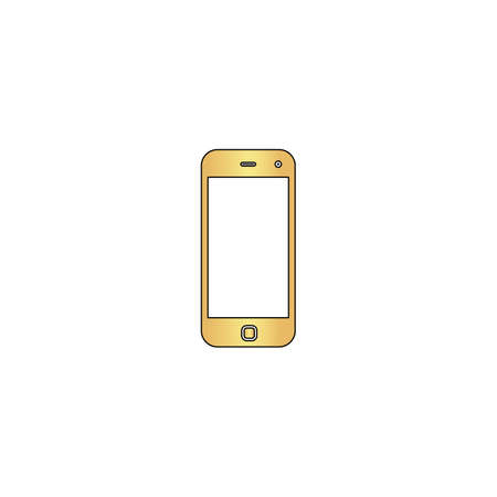 mobile Gold vector icon with black contour line. Flat computer symbol Illustration