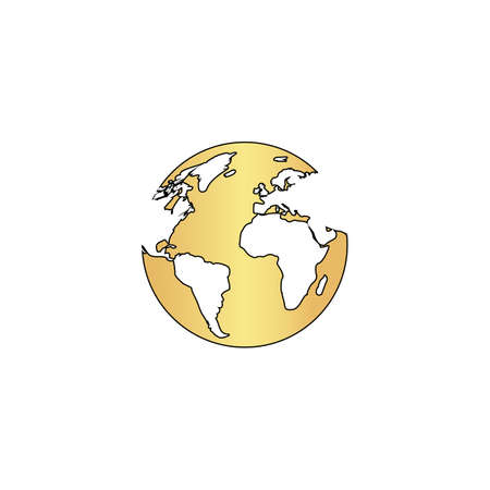 gold earth: earth Gold vector icon with black contour line. Flat computer symbol