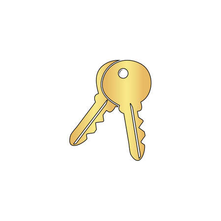 Keys Gold vector icon with black contour line. Flat computer symbol Illustration