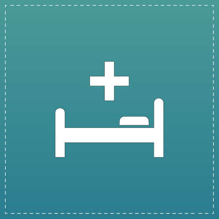 Hospital bed and cross. White flat icon with black stroke on blue background