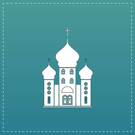 born again: Church. White flat icon with black stroke on blue background Illustration