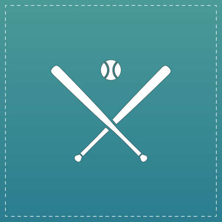 infield: Crossed baseball bats and ball. White flat icon with black stroke on blue background