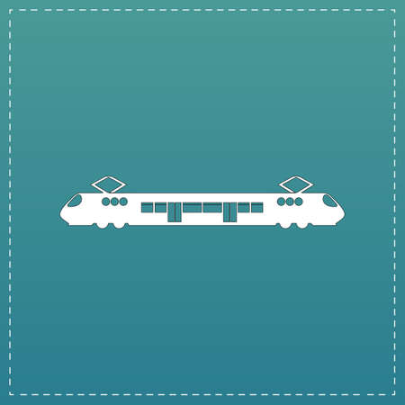 electric train: Suburban electric train. White flat icon with black stroke on blue background