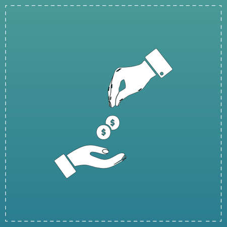 beggar's: Hands Giving and Receiving Money. White flat icon with black stroke on blue background