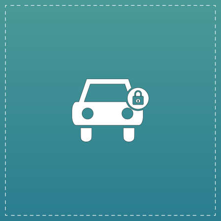 remote lock: Car lock. White flat icon with black stroke on blue background