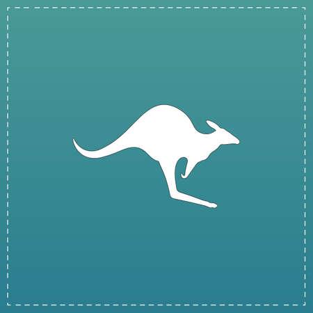kangaroo white: Kangaroo. White flat icon with black stroke on blue background