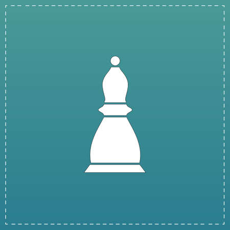 sports symbols metaphors: Chess officer. White flat icon with black stroke on blue background