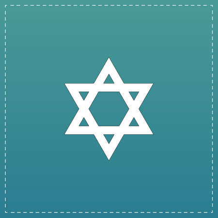 Star of David. White flat icon with black stroke on blue background Illustration