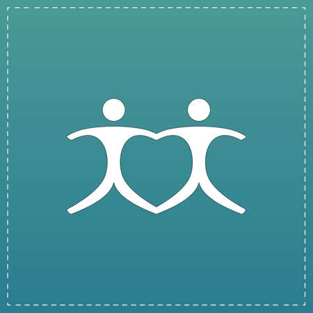 interracial: Connecting people as a heart - pair. White flat icon with black stroke on blue background