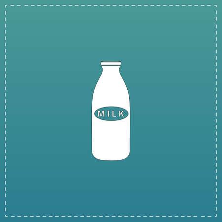 Milk bottle. White flat icon with black stroke on blue background