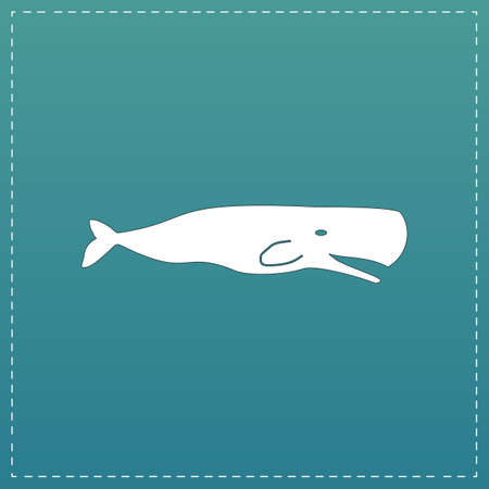 deepsea: Sperm Whale. White flat icon with black stroke on blue background Illustration