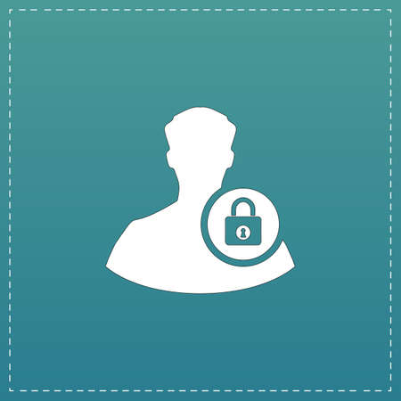 authenticate: User login or authenticate. White flat icon with black stroke on blue background