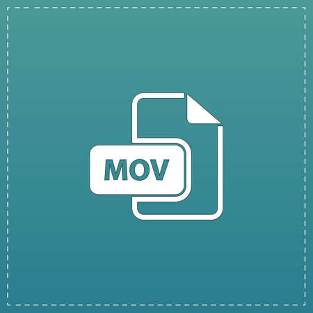mpg: MOV video file extension. White flat icon with black stroke on blue background
