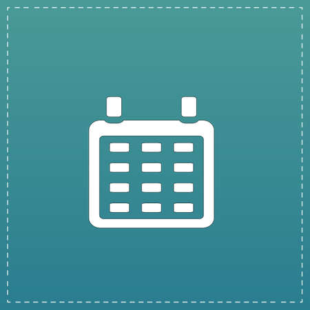 time bound: Calendar. White flat icon with black stroke on blue background