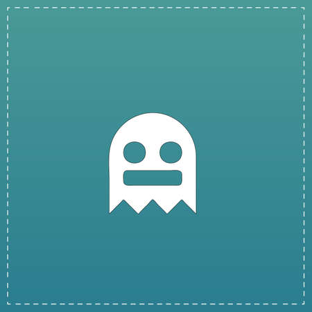 31: Kawaii cute ghost. White flat icon with black stroke on blue background Illustration