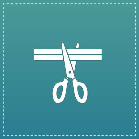 male grooming: Presentation - Scissors and Cutting. White flat icon with black stroke on blue background