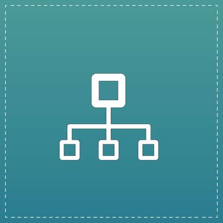 dataset: Network block diagram. White flat icon with black stroke on blue background