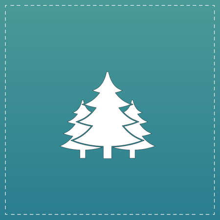 Tree, Christmas fir tree. White flat icon with black stroke on blue background Illustration