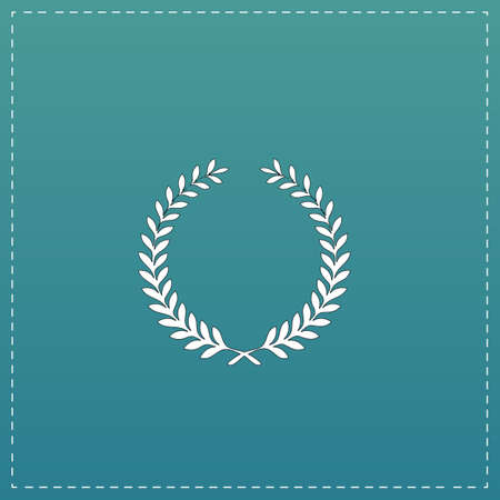 triumphant: Victory laurel wreath. White flat icon with black stroke on blue background
