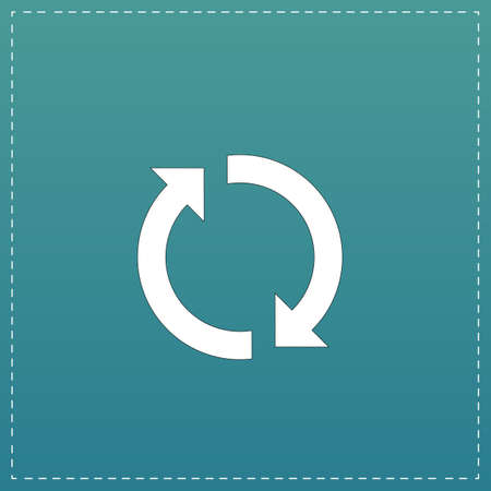 newest: Refresh reload rotation loop sign. White flat icon with black stroke on blue background Illustration