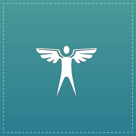 icarus: Winged man. White flat icon with black stroke on blue background