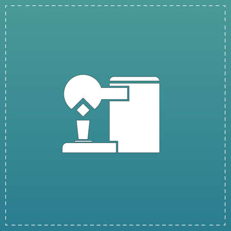 coffe break: Coffee maker. White flat icon with black stroke on blue background