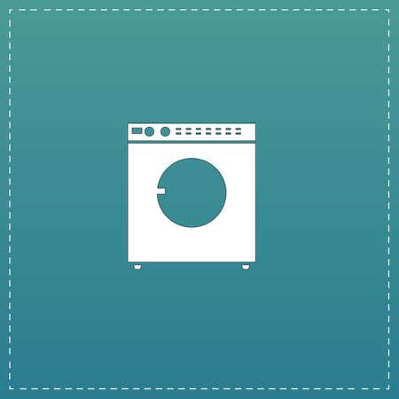 fully automatic: Washing machine. White flat icon with black stroke on blue background