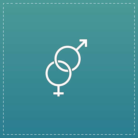 Twisted male and female symbol. White flat icon with black stroke on blue background