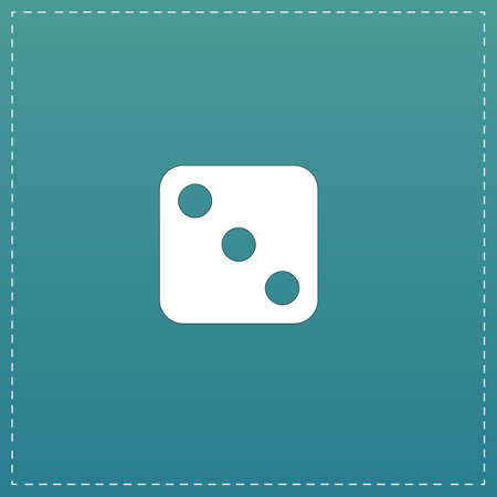 One dices - side with 3. White flat icon with black stroke on blue background Vector Illustration