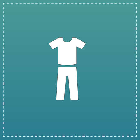 Uniform - pants and t-shirt. White flat icon with black stroke on blue background Illustration