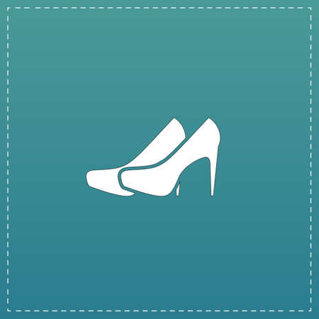 distinctive: Pair of shoes. White flat icon with black stroke on blue background Illustration