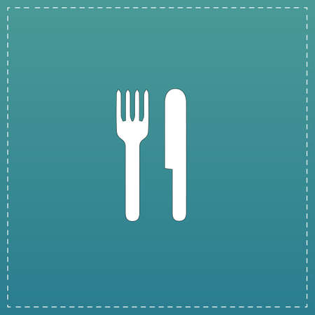 Simple fork and knife. White flat icon with black stroke on blue background