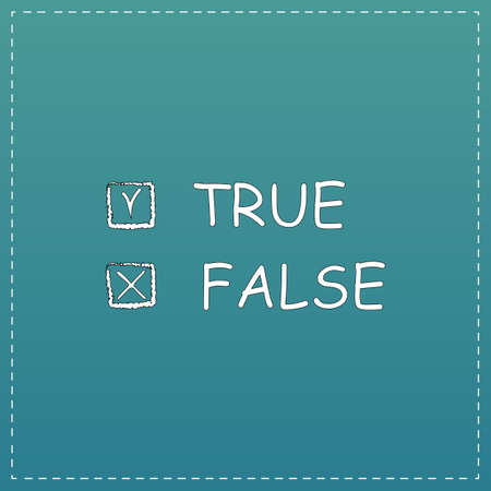 exact: True and False. White flat icon with black stroke on blue background Illustration