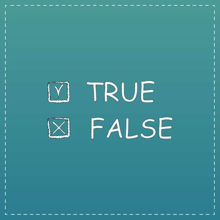 validez: Verdadero y falso. Blanco icono plana con trazo negro sobre fondo azul