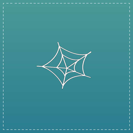 Spinnenweb. Witte platte pictogram met zwarte streep op blauwe achtergrond